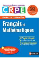 Annales corrigees crpe francais et mathematiques - ecrit 2020